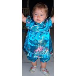 Ensemble chinois pour bébé tunique et bloomer, modèle bleu