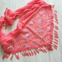 Rouge corail - écharpe à galons feuilles et broderie fleurs 3D et sequins Réf.7