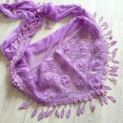Violet clair - écharpe à galons feuilles et broderie grosses fleurs 3D et sequins Réf.14