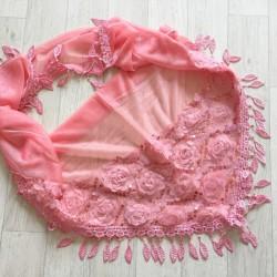 Vieux rose - écharpe à galons feuilles et broderie grosses fleurs 3D et sequins Réf.16