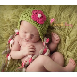 Bonnet nattes - vert et rose