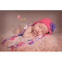Bonnet nattes - Rose foncé et violet