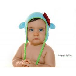 Bonnet Monkey Ptites oreilles au crochet naissance à 3 ans