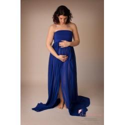 Longue robe de grossesse en mousseline fluide et aérienne