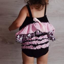 Ensemble bébé : robe + bloomer  0 à 3 ans, modèle léopard rose clair