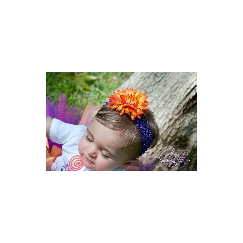 bandeau barrette b b fille mod le marguerite orange violet. Black Bedroom Furniture Sets. Home Design Ideas