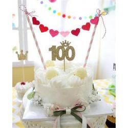 Guirlande décoration de gâteau coeurs
