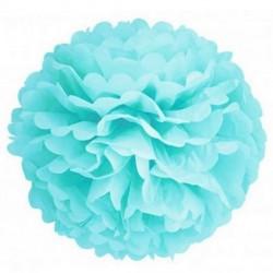 Pompon en papier de soie bleu, taille au choix