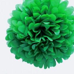 Pompon en papier de soie vert, taille au choix