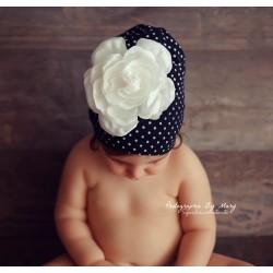 Bonnet coton 1 à 6 ans, modèle petits pois noir