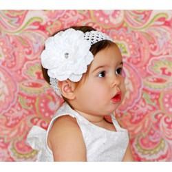 Bandeau+barrette bébé/fille, modèle Pétunia blanc