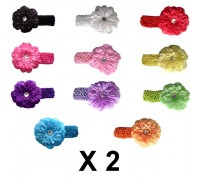 X 2 Lot bandeaux Pétunia