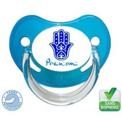 Sucette main de fatma bleu à personnaliser