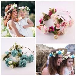 Couronnes de fleurs comme maman, nuances de bleu ou rose au choix