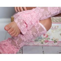 Jambières en dentelle pour bébé/fille, modèle rose