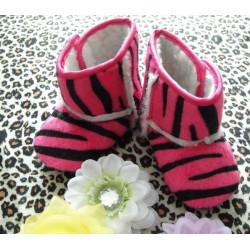 Bottes souples bébé, Modèle Zèbré fushia