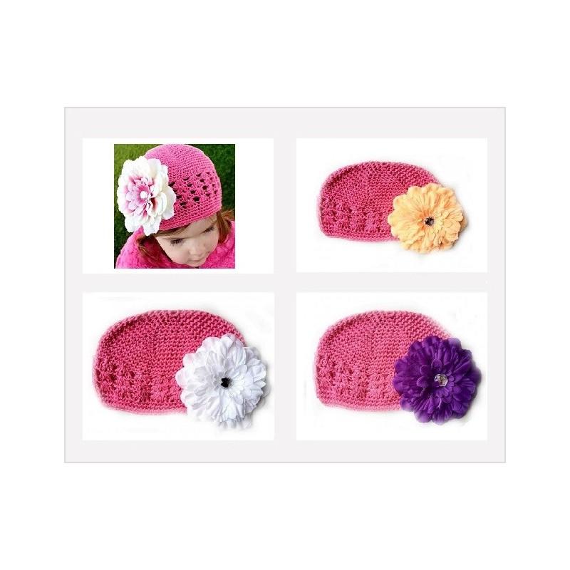 Bonnet au crochet 100% coton, couleur rose moyen +barrette pétunia au choix