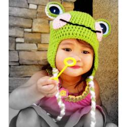 """Bonnet Monkey """"petites oreilles"""" au crochet nouveau né à 1 an"""