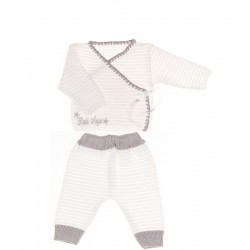 Ensemble tricot brassière+pantalon 0 à 3 mois Thème LITTLE ANGEL