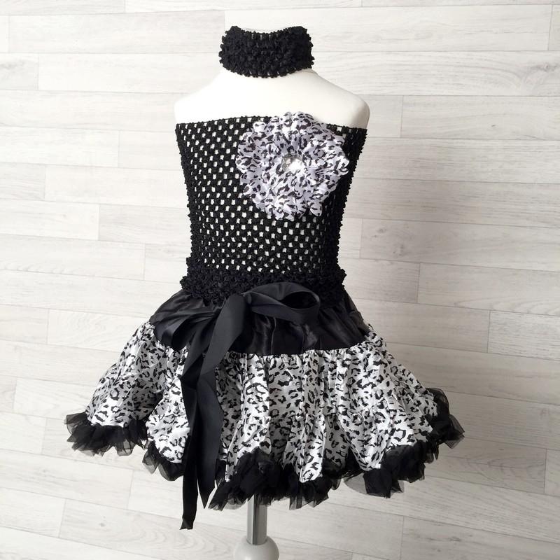 ensemble 4 pi ces jupe satin l opard noir et blanc. Black Bedroom Furniture Sets. Home Design Ideas
