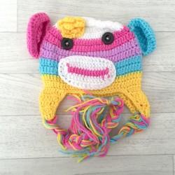 """Bonnet Monkey """"petites oreilles"""" au crochet 1 à 3 ans"""