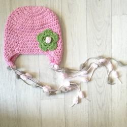 Bonnet nattes - rose clair 0 à 2 ans