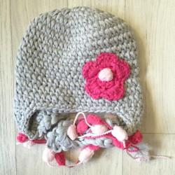 Bonnet nattes - gris et rose