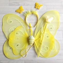 Fée Papillon strass Jaune - Déguisement costume bébé/enfant 2 à 10 ans