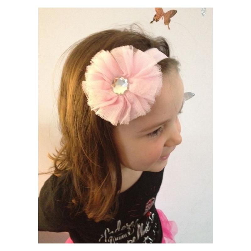 bandeau cheveux pour b b fille mod le froufrou tulle rose. Black Bedroom Furniture Sets. Home Design Ideas