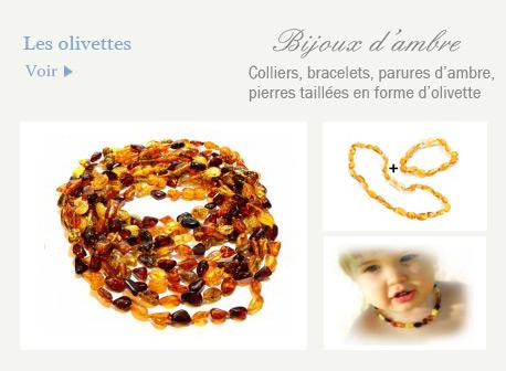 bijoux en ambres olivettes