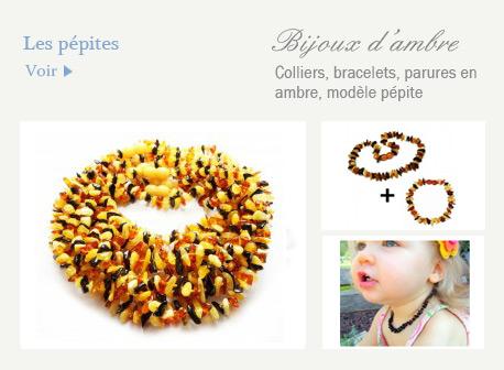 bijoux en ambres pepites