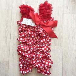 Salopette bébé en satin modèle polka rouge