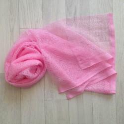 Wrap gauze tissu dentellé 160x50 cm, modèle rose bonbon