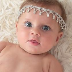Bandeau couronne en perles et strass, modèle Béa