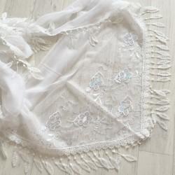 Blanc - écharpe à galons feuilles et broderie fleurs 3D et sequins Réf.8