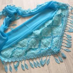 Bleu - écharpe à galons feuilles et broderie grosse fleurs 3D et sequins Réf.11