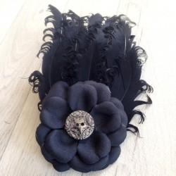 bandeau cheveux b b enfant plumes noir a. Black Bedroom Furniture Sets. Home Design Ideas