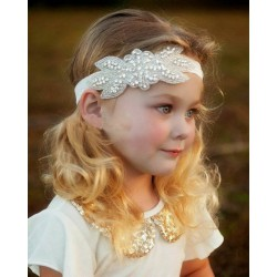 Bandeau habillé en perle et strass de verre, modèle Athena