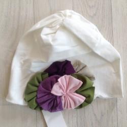 Bonnet fille en coton fin modèle blanc