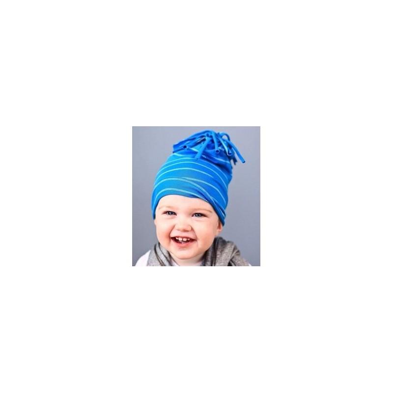 5d14533f7d4 Bonnet garçon en coton fin modèle pompon bleu