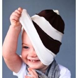 Bonnet garçon en coton fin modèle blanc/choco