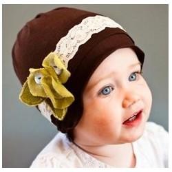 Bonnet fille en coton fin modèle chocolat