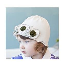 Bonnet fille en coton fin modèle blanc coutures kaki