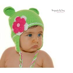 """Bonnet Monkey """"petites oreilles"""" au crochet naissance à 3 ans"""