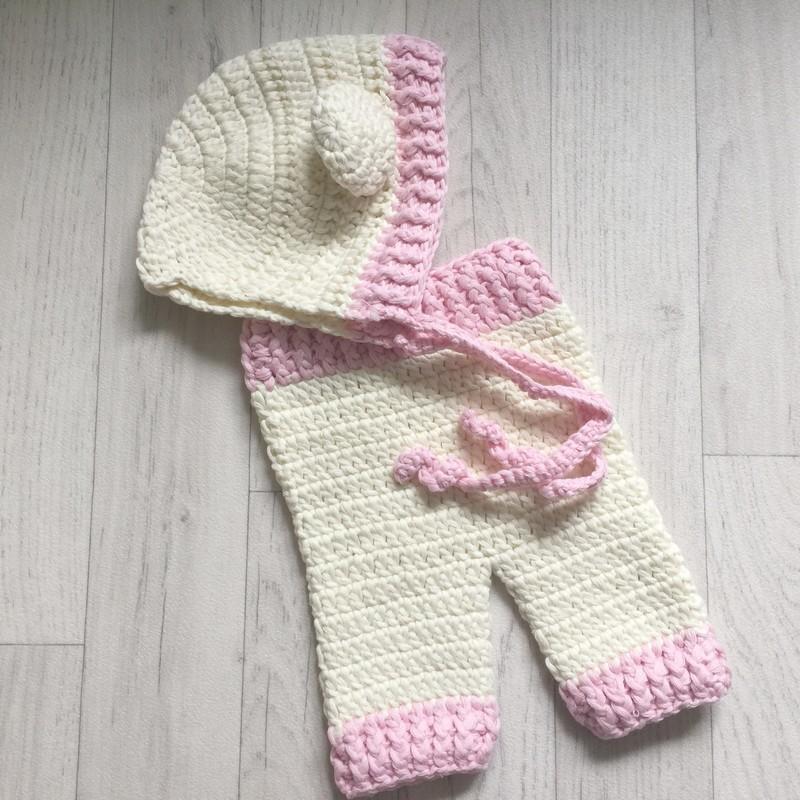 373aca99a091 Ensemble pantalon et bonnet oreilles au crochet taille naissance modèle  fille