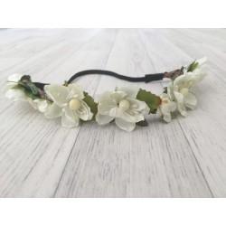 Bandeau fleuris, modèle petites fleurs crème