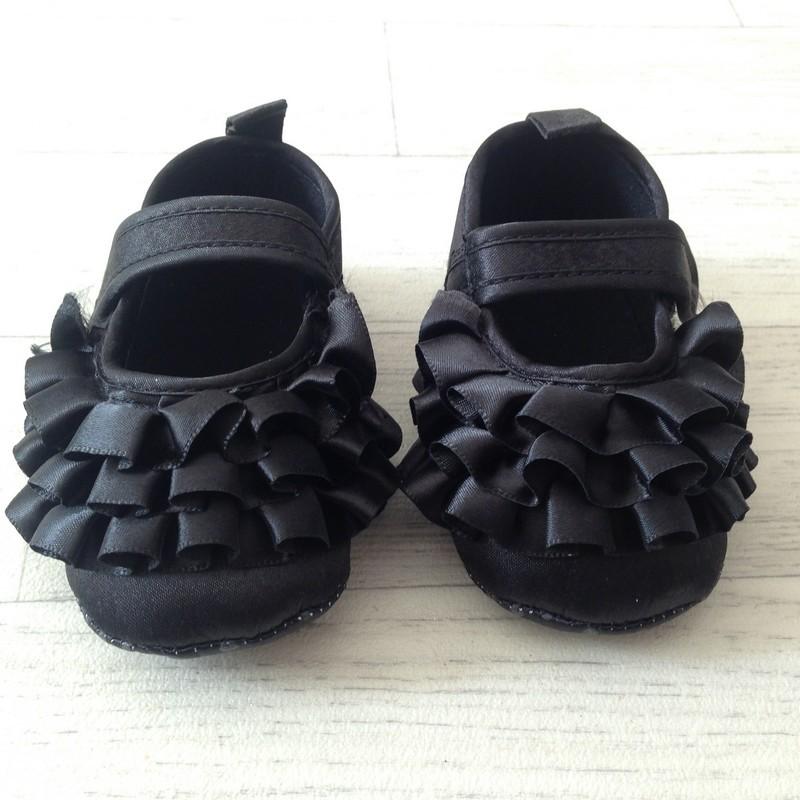 Ballerine souple bébé 3 à 12 mois, modèle Froufrou noir