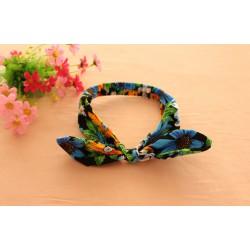 Bandeau oreilles lapin modèle tropical bleu