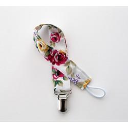 Attache sucette ruban modèle print fleurs blanc