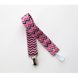 Attache sucette ruban Bi face Zig Zag tons rose et noir